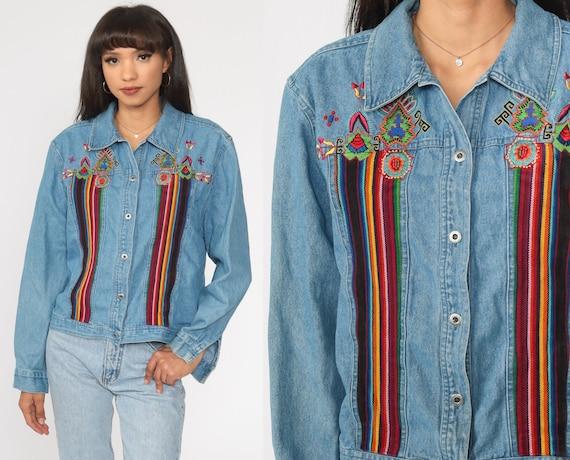 Southwestern Jean Jacket 90s Denim Jacket Embroidered Tribal Jean Jacket Boho Coat Southwest Bohemian 1990s Vintage Large