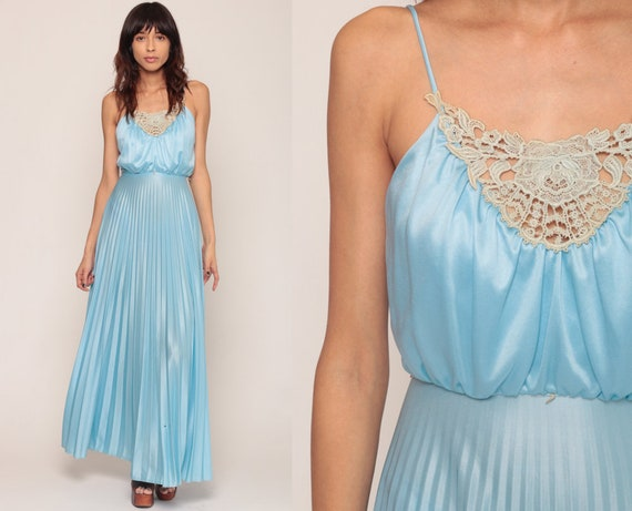 Grecian Dress 1970s Maxi Party Pastel Baby Blue 70s Boho CROCHET Goddess PLEATED Prom Long Vintage Sleeveless Spaghetti Extra Small xs