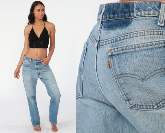 Levis Flared Jeans 33 Denim Pants 70s Levi Strauss Jeans Orange Tab Flared Blue High Waist Distressed 1970s Bohemian Vintage Large