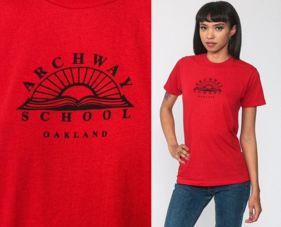 Archway School Oakland Shirt 80s Tee 1980s Red Ele
