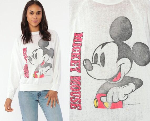 Disney Mickey Mouse Sweatshirt -- 80s Burnout Paper Thin Disneyland Sweater Sheer Raglan Sleeve Shirt Cartoon Crewneck Vintage Small