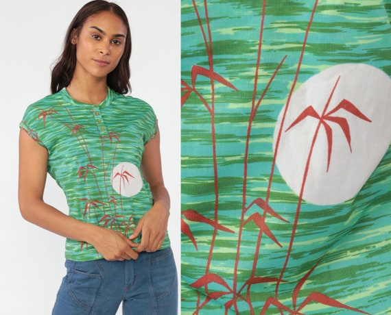 Bamboo Print Shirt Boho Shirt Hippie Blouse 70s Leaf Print Top Retro Bohemian Cap Sleeve Slouch Vintage Green Nature Small Medium
