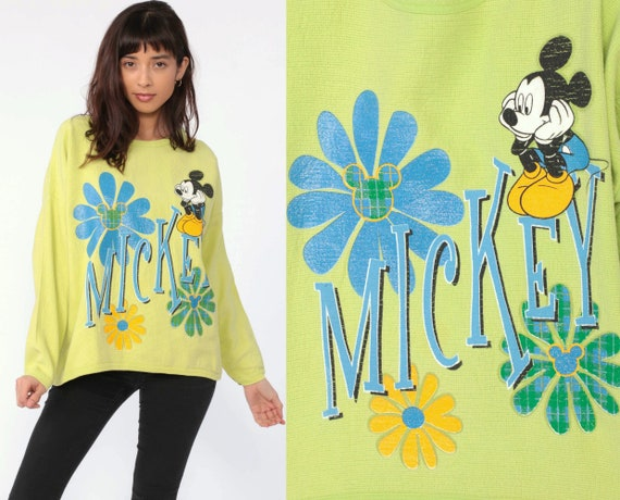 Disney Mickey Mouse Sweatshirt -- 90s Sweater Lime Green Disneyland Glitter Floral Shirt Cartoon Crewneck Vintage Retro Extra Large xl