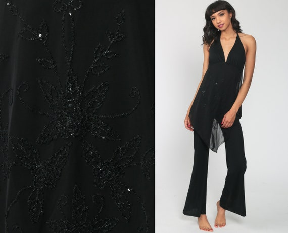 Black Beaded Jumpsuit Draped Mesh Bell Bottom Catsuit Party 90s Does 70s Disco Pantsuit Flared Halter Neck Vintage Pants Romper Small