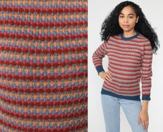 70s Wool Sweater Striped Sweater Geometric Knit 80s Pullover Jumper Knit Ringer Sweater 1970s Vintage Red Pink Blue Small s