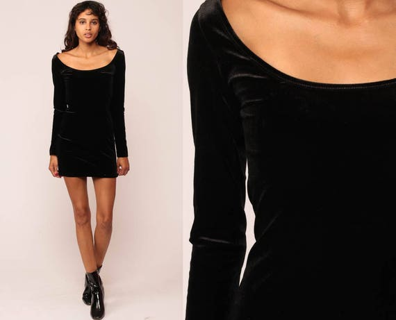 Black VELVET Dress BACKLESS 90s Criss Cross Cocktail Party Mini Strappy Vintage Bodycon Grunge Long Sleeve small