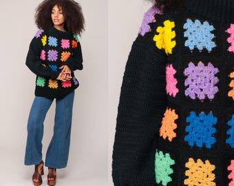70s Sweater Crochet Sweater Boho Turtleneck Sweater Vintage Black Rainbow CUT OUT Hippie Retro Hipster 1970s Bohemian Medium Large