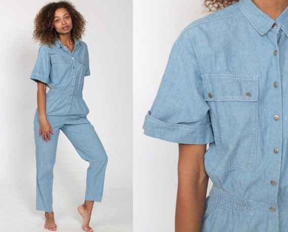 Blue Jumpsuit 80s Button Up Jumpsuit Tapered Leg Pants Utility Workwear Cotton Pantsuit Vintage Short Sleeve Romper 1980s High Waist Small