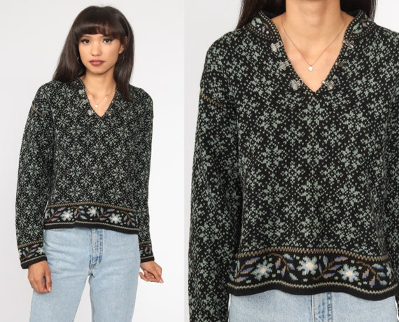 Black Floral Sweater 90s Norwegian Sweater Graphic Print Cotton Ramie Knit Slouchy Pullover Vintage Hipster Jumper Medium