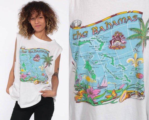 Bahamas Map Shirt Tropical Tank Top Surf Shirt 90s Graphic Vintage 1990s Retro Tee Extra Large XL