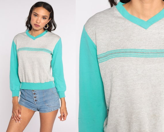 Grey V Neck Sweatshirt Turquoise STRIPED Ringer Shirt 80s Sweater Pullover Slouchy Sports 1980s Vintage Retro Small Medium