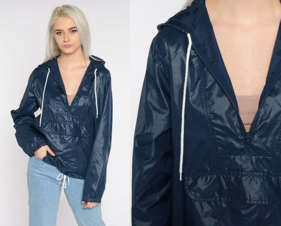 Hooded Windbreaker Jacket Navy Blue Pullover Jacket 80s Hoodie Jacket Vintage 1980s Hood Plain 70s Medium