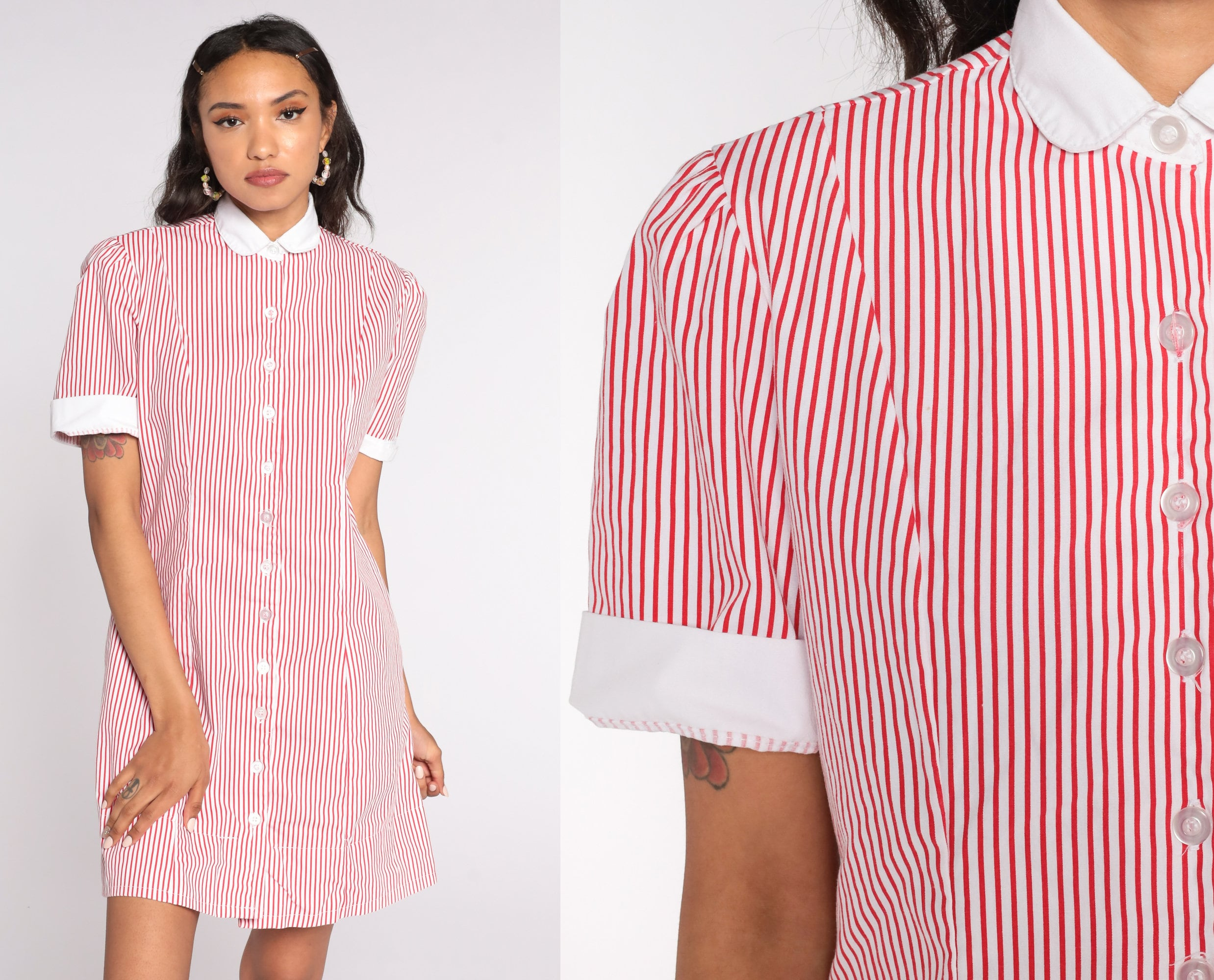 80s Dresses | Casual to Party Dresses Red Striped Dress Candy Striper Uniform Button Up 80S Mini Puff Sleeve Peter Pan Collar 1980S Vintage Shift White Extra Small Xs $65.00 AT vintagedancer.com