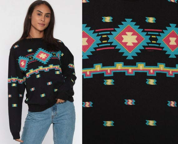 90s Southwestern Sweatshirt Black Southwest Print Shirt Boho Crewneck Tribal Aztec Shirt Long Sleeve Vintage 1990s Slouchy Small Medium