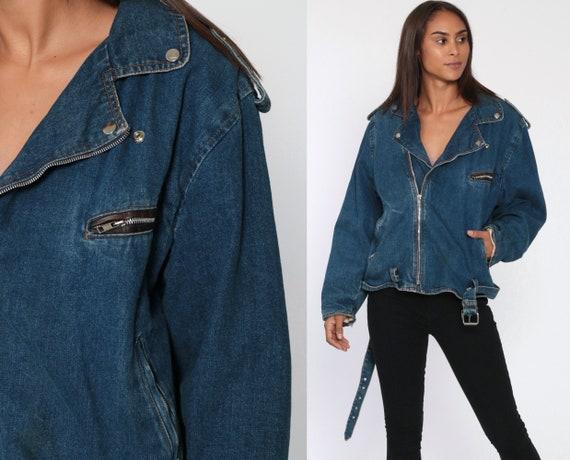 Denim Biker Jacket 80s Jean Jacket Belted Motorcycle Jacket 1980s Vintage Accent Bomber Blue Coat Retro Jacket Large