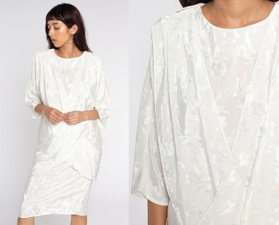 80s Floral Dress White Embossed Dress Draped Pleated Midi Dress Panel Pencil Dress Shift 1980s Long sleeve Vintage All That Jazz Medium