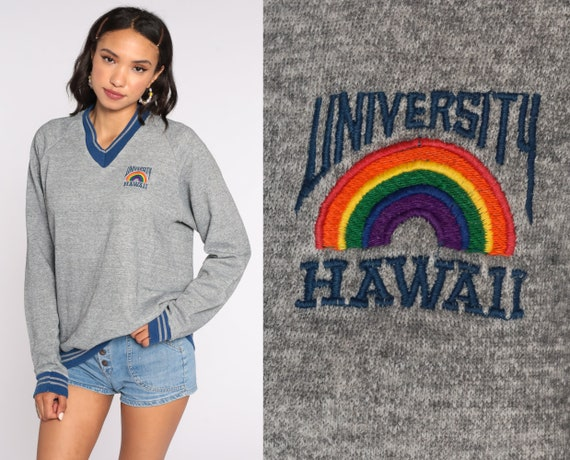 University Of Hawaii Sweatshirt 80s University Shirt Graphic Raglan Sleeve College Sweater Grey Ringer Slouchy Sweater Vintage Medium Large