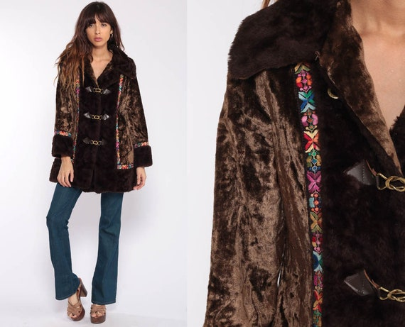 Velvet Coat 70s Jacket FAUX FUR COLLAR Coat Boho Jacket Brown Fake Fur Jacket Penny Lane Bohemian Vegan Winter Vintage Fall Extra Small xs
