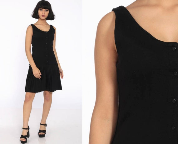 Black Pleated Dress Mini Sheath Dress Drop Waist Dress Sleeveless 80s Button Up Grunge Plain Hipster Retro Vintage Normcore Small