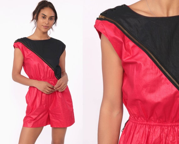 80s Color Block Romper Shiny Red Playsuit DIAGONAL ZIP Up Waxed Cotton 1980s High Waist Summer One Piece Cap Sleeves 1980s Vintage Small
