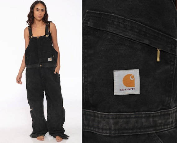 90s Carhartt Overalls -- Black Insulated Coveralls Quilted Overalls Workwear Cargo Dungarees Bib Coveralls Streetwear Work Wear Large