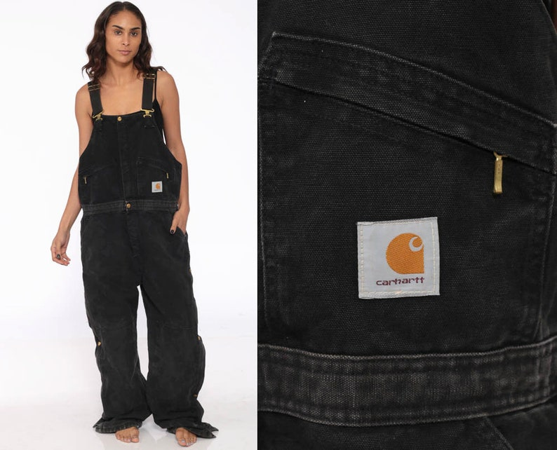 39066e9cba 90s Carhartt Overalls Black Insulated Coveralls Quilted