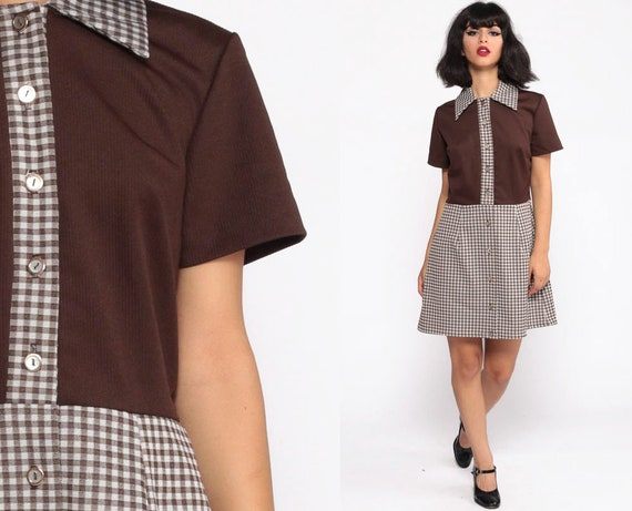 70s Mod Dress Mini Button Up Brown Gingham Dress Contrast Collar Knit High Waisted Checkered Print Plaid Twiggy 60s Short Sleeve Large