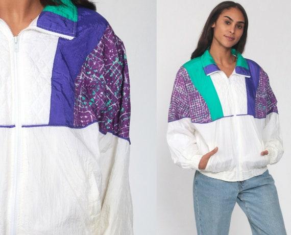 90s Windbreaker Jacket Shiny White Purple Color Block Geometric Print Vintage 1990s Zip Up Jacket Medium