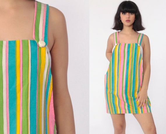 Striped Overall Dress 70s Mod Rainbow Jumper Mini Dress Pinafore Suspender Boho Hippie Kawaii 60s Vintage Low Armhole Retro Small Medium