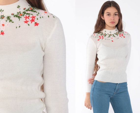 Floral EMBROIDERED Sweater 70s Boho Sweater Knit Bohemian Mock Turtleneck Kawaii 1970s Pullover Vintage Jumper Retro Extra Small xs s