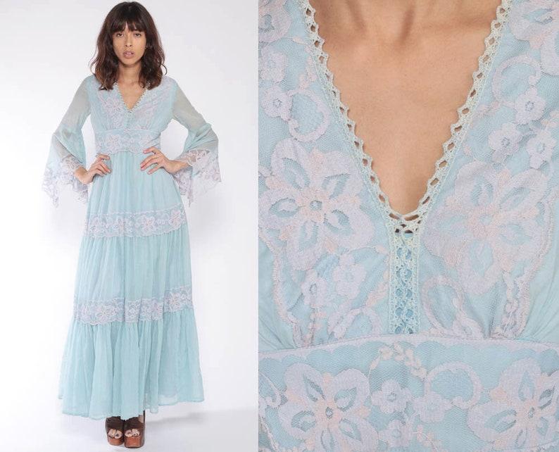 2308f0176aa8d Boho Dress 70s Maxi ANGEL SLEEVE Bohemian Empire Waist Baby   Etsy