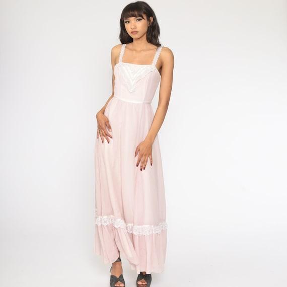 Gunne Sax Dress 70s Maxi PRAIRIE Baby Pink Butter… - image 4