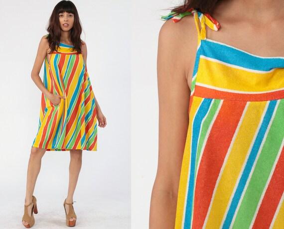 Beach Dress 70s STRIPED Sun Mini TENT Tunic Terry Cloth Spaghetti Hippie 1970s Beach Cover Up Sundress Vintage Sleeveless Boho Medium