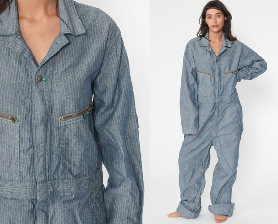 Striped Boiler Suit -- 70s Key Coveralls Pants Jumpsuit Workwear 80s Boilersuit Blue Work Wear Vintage Mechanic Medium Large Tall