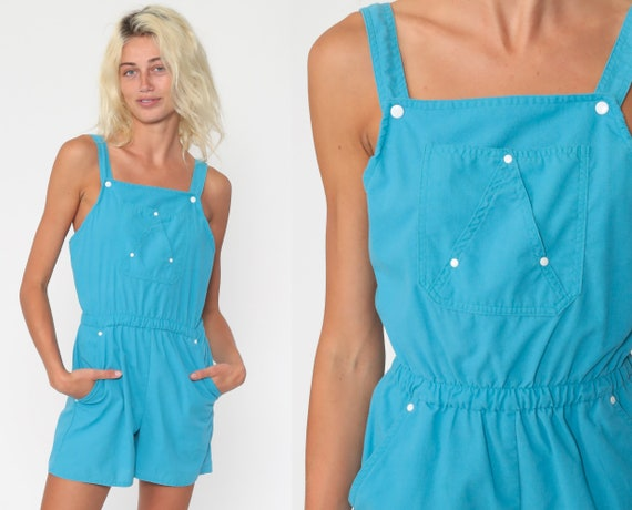 Blue Romper Shorts Summer Playsuit High Waisted 80s One Piece Vintage Sleeveless Bib Romper Pocket 1980s Back Keyhole Extra Small xs s
