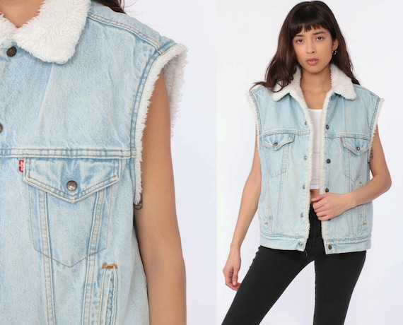 Levis Sherpa Vest Denim Vest 80s Light Blue Shearling Vest USA Sleeveless Jean Jacket LEVI Strauss Biker Vintage Button Up Medium