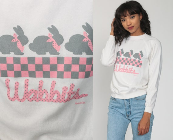 Bunny Sweatshirt WABBITS Rabbit Sweatshirt Animal Sweatshirt 80s Jumper Graphic Shirt Raglan Sleeve White Kawaii 1980s Vintage Small s