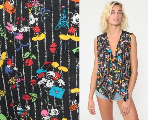 Mickey Mouse Vest Minnie Mouse Vest Paris Eiffel Tower 90s Walt Disney Vest All Over Print Vintage Button Up Black Extra Large xl xxl