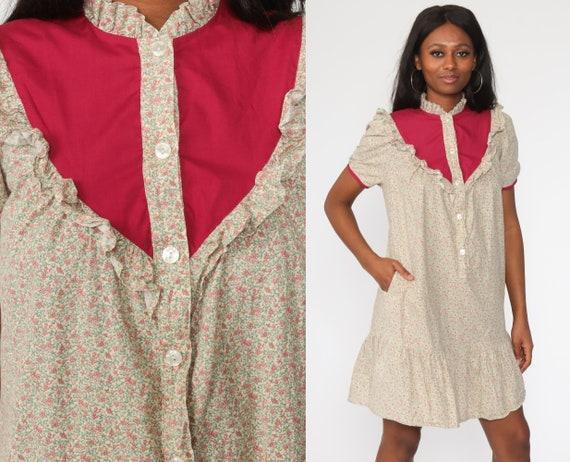 Floral Calico Dress Puff Sleeve Dress 70s Mini Dress Button up Boho Shift Tent 1970s Bib Vintage Bohemian Minidress Small