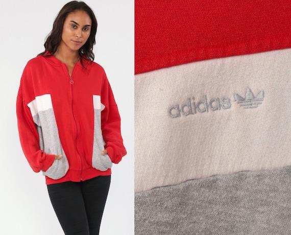 Adidas Sweatshirt 80s Track Jacket Zip Up Sweatshirt Red Grey Retro Sports Throwback Vintage Old School Large