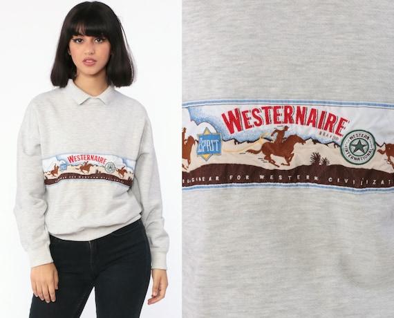 Western Esprit Sweatshirt 90s WESTERNAIRE Esprit Jeans Shirt Jumper Slouchy Long Sleeve 80s Vintage Retro Collared Medium