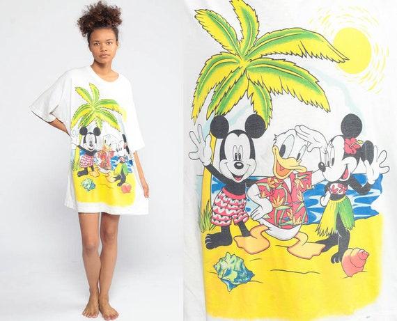 Mickey Minnie Shirt -- Beach Club Shirt Walt Disney TShirt Dress 90s Minnie Mouse Cartoon T Shirt Tropical Vintage 1990s Palm Trees Medium