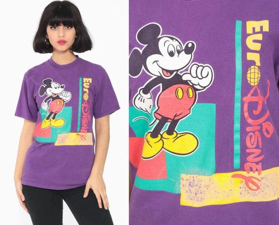 Euro Disney Shirt Mickey Mouse TShirt 90s Walt Disney Shirt Streetwear Graphic Cartoon T Shirt Purple Vintage Retro Tee Extra Small xs