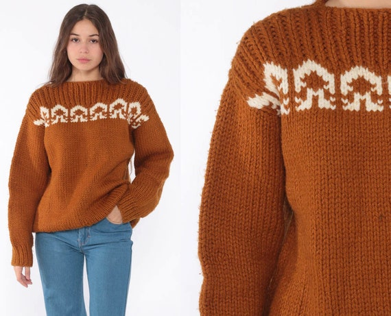 70s Thick Sweater Boho Brown Geometric Ski Sweater Knit Sweater Warm Winter Sweater Vintage 1970s Bohemian Pullover Jumper Small Medium