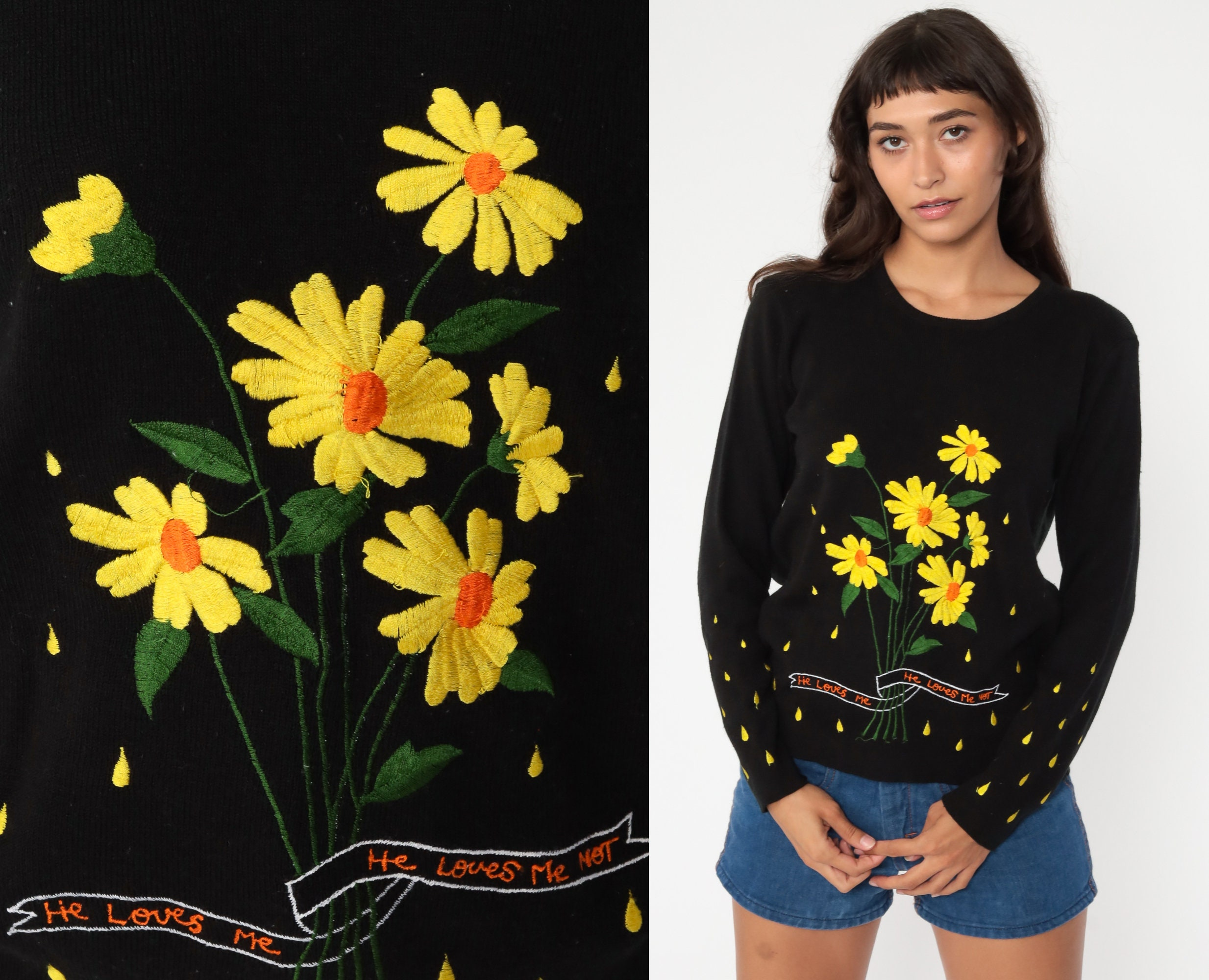 70s Floral Sweater He Loves Me Not Knit Pullover Medium 1970s Vintage Novelty Sweater