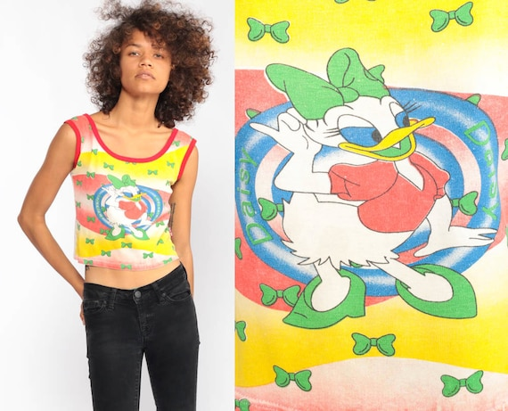 Disney Shirt xxs DAISY DUCK Tank Top 90s Retro Walt Disney Shirt Graphic Cartoon Vintage 1990s Ringer Tee Extra Small 2xs Petite xxs