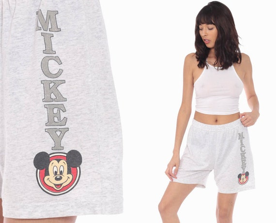 Mickey Mouse Shorts Walt Disney Shorts 90s Shorts Cotton Kawaii Summer High Waisted Retro Vintage 80s Grey Small
