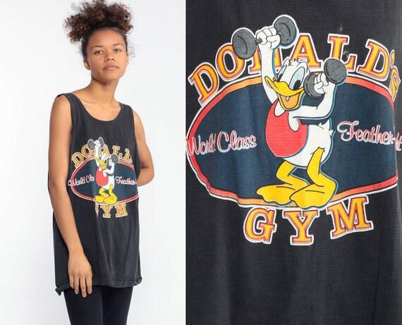 Donald Duck Gym Shirt Walt Disney Tank Top FEATHER WEIGHT 90s Graphic Shirt Bodybuilder Weightlifting Vintage Tee Black Medium Large