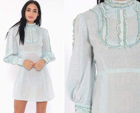Babydoll Bib Dress Baby Blue 70s Mini Puff Sleeve Pastel 60s Mod Boho Bib Minidress Empire Waist Vintage Victorian Dolly Lolita Small