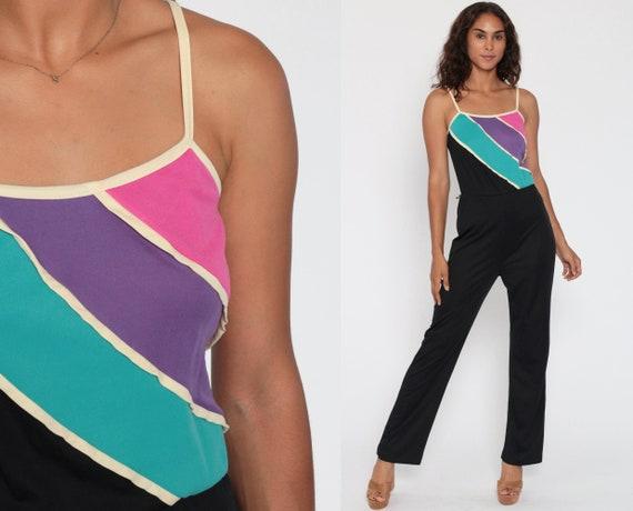 70s Jumpsuit Spaghetti Strap Pantsuit Black Straight Leg Pants Stripe Vintage Disco Romper Pants High Waisted Boho Onesie Extra Small xs s